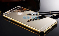 Gold mirror case for iPhone 6 , Clear Mirror With Metal Bumper Back Shell Hard Case Cover