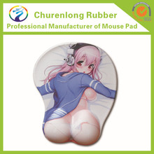 3d sexy girl silicon game mouse pad with wrist rest
