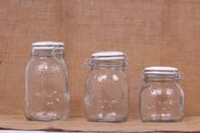 Clipe de metal de armazenamento vasilha de vidro