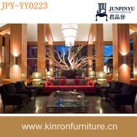 New Design Hotel Furniture Dark Colour Solid Wood Popular Modern Hotel Sofas