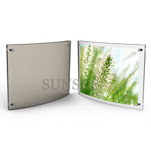 Transparent acrylic Arc-shaped photo frame, 5x7 plastic magnet picture frame PF1206002