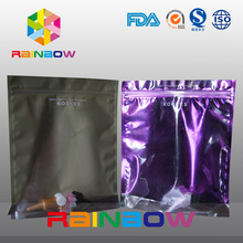 Resealable one side clear plastic foil lined comestic bags