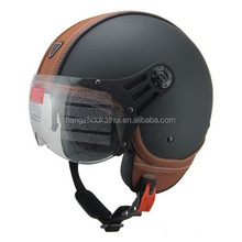 leather material open face helmet for motorcycle scooter and street bike