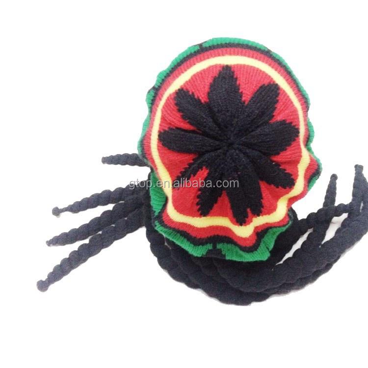 Rasta Dredlock Reggae Knitted Cap Jamaican Bob Marley ...