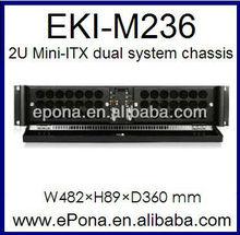 2U Mini-ITX dual system Compact Server case, Rackmount Chassis, industrial PC case EKI-M236