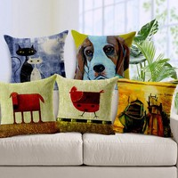 Oil Painting Printed animal Cushion Covers decorative pillow for Home Decor