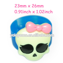 JYL087 Skull Silicone Mold with Bow Cake Decoration Food Safe Icing Candy Candles Fimo Clay Cookie Plaster