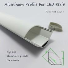 Grande taille coin LED coque en aluminium avec opale mat diffuseur PMMA cover pour LED light strip