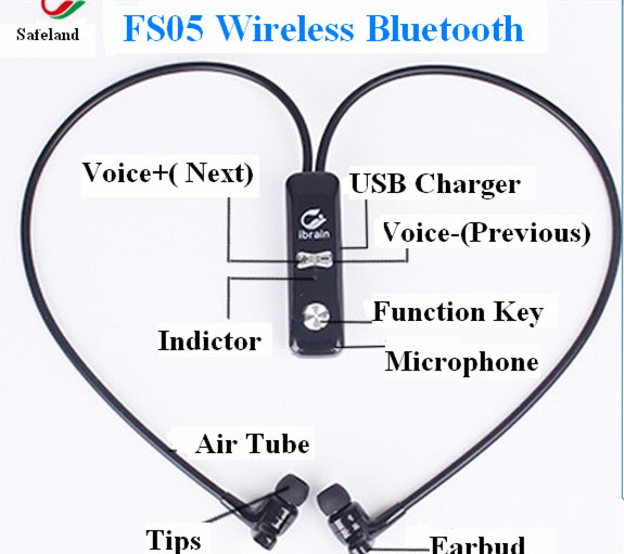 high quality android smart earphone fs05 safeland air tube anti radiation wir. Black Bedroom Furniture Sets. Home Design Ideas