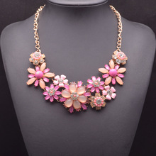 New European and American big necklace sunflowers shourouk high-grade zinc alloy decorative items necklace