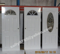 Safety residential iron steel entry doors with glass insert exterior