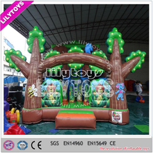 Green tree finely processed inflatable bouncy castle slide for kids