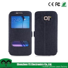 smart window pu leather mobile flip covers for s6 cover