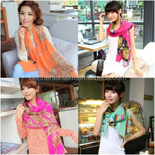 Full color velvet chiffon long scarf, dual-use multicolor much money