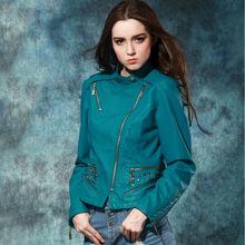 En cuir de mode dames de fantaisie veste verte pure, taille plus gros femmes veste classique solide
