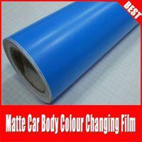 TSAUTOP hot sale RoHS certificate 1.52*30m air Free bubbles adhesive Cerulean blue matt car vinyl wrap