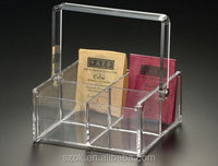 Clear acrylic high quality printing storage tea holder/box with handle