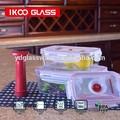 7 piezas rectangulares de cristal envase de alimento conjunto con una bomba y caja de regalo