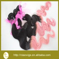 Ombre Hair Extensions Brazilian virgin hair Body Wave Two Tone 1B/Pink Color 3pcs/lot 100% Human Hair Weaves Free Shipping
