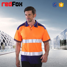 custom printed safety high visibility color combination polo t-shirt