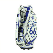 2015 Manufacturer price custom fashionable golf cart bag high quality waterproof golf bag made of PU leather with blue Route 66