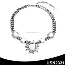 HOT sale girls clear crystal fashion short chain necklaces