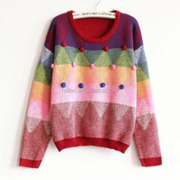 2015 hot sale diamond colorful short front long back women sweater