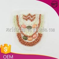 Fancy custom beaded pearl applique patch for dress WTA226