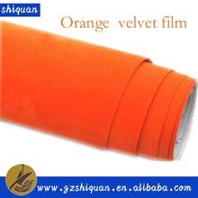 China supplier make car body decoration orange velvet film/auto wrap cost