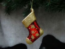 chrismas socks shining plastic decoration,2014 beautiful new design