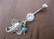 New arrivel 14G navel piercing jewelry Summer Collection Silver Elephant with Light Blue Gem Stone elephant navel ring
