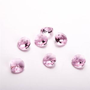 AAA K9 크리스탈 14 미리메터 핑크 유리 프리즘 비즈 샹들리에 두 구멍 조명 액세서리