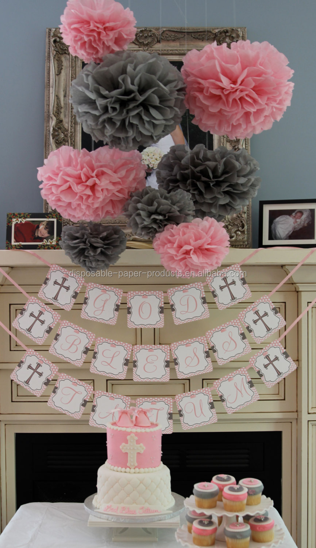 Rosa thema party ideen seidenpapier pompons wabe bälle papierlaternen baby dusche dekorationen