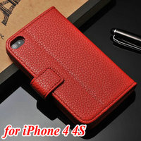 Hot new brilliant high quality PU material cellular cell phone leather case cover & bag for Iphone 4 4S