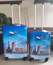 Famous Building Eiffel Tower printing Hard Shell PC ABS Travel Trolley LUGGAGE