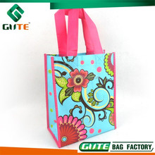 Beautiful Flower Printing Fashion Gift bag Non woven Promotional bag Laminated shopping bag