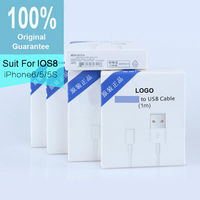 100% Guarantee Original 1M 8pin USB Cable For Apple iPhone 5 5s 6 Plus Sync Charger Data Cable For iPad Air / Mini IOS9