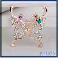 2016 American fashion luxury gold plated butterfly shaped for scarf decoration brooch