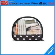 wholesale promotional semi-circle shaped white dot cosmetic bag organizer tas kosmetik murah