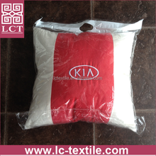 China OEM factory wholeasle cheap polyester suede cover red/beige neck car cushion car pillow with custom embroidery(LCTP0187)