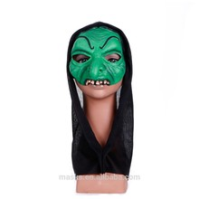 Carnival/Party Half Green Face ghost Mask with black hood