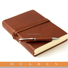 Huaben brand creative leather diary with metal pen