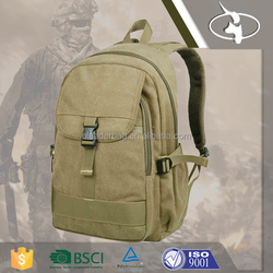 Green Canvas Army School Backpack with OEM ODM Welcomed