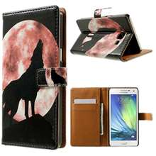 Book Flip PU Leather Card Stand Black Wolf Moon Case Cover For Various Phone For Samsung Galaxy S3/S4/S5/S5 mini/Note 3 4 for iP