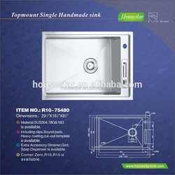 Top quality New Design American Standard Kitchen Sink Undermount Stainless Steel Franke Sink,Single Bowl Sink, ---R10-75480