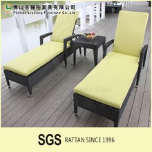 All Weather Aluminum Frame Outdoor Furniture Wicker Sun Beach Bed Comfortable PE Rattan Plastic Sun Lounger for Hotel
