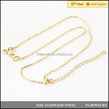 stainless steel sexy name letter pendant chain in small thin rolo neck in 18k gold (NXL-057)