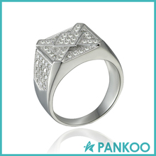 Wholesale fashion Simple design s925 Silver Pave CZ man ring