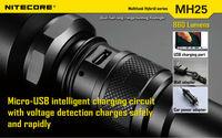 cree led torch/ mini maglite led/led rechargeable torch 860lumens flashlight NitecoreMH25 CREE XP-G U2LED