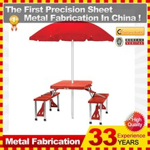 Folding Picnic plasticTable and 4 seats/chairs/bench with Umbrella